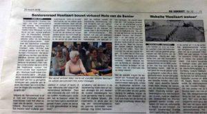 Artikel over de senioren Hoeilaart website in De Serrist van 29 maart 2018