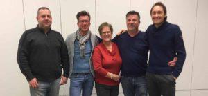 De trekkers achter Buurtpreventie Hoeilaart: Frank Eggerickx, Vincent Philips, Gilberte Marchand, Christophe Philips, en Youri Vandervaeren