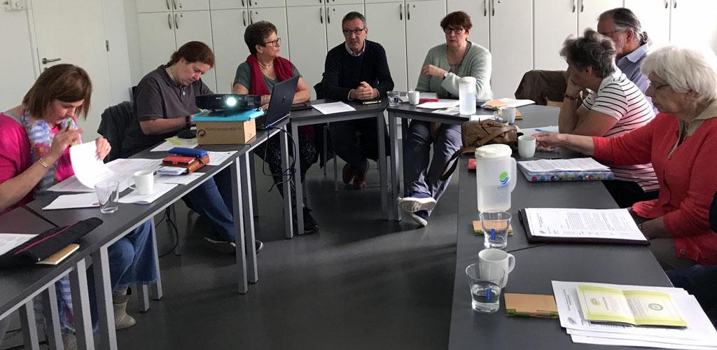 De Algemene Vergadering van 26 april 2018 met als gasten Wilfried Van Raemdonck, OCMW-voorzitter en Ine Leemans, OCMW-secretaris